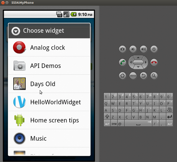 Adding the widget on the virtual phone