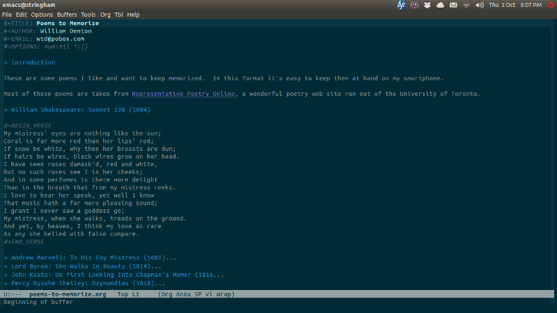 Screenshot of file in Org mode in Emacs
