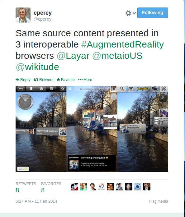Same source content presented in 3 interoperable #AugmentedReality browsers @Layar @metaioUS @wikitude