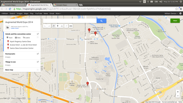 Screenshot of editable Google Map