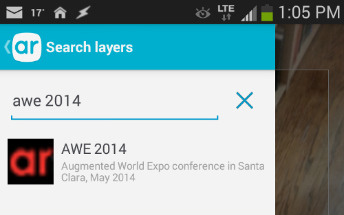 Screenshot of the search in Layar
