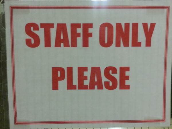 STAFF ONLY PLEASE