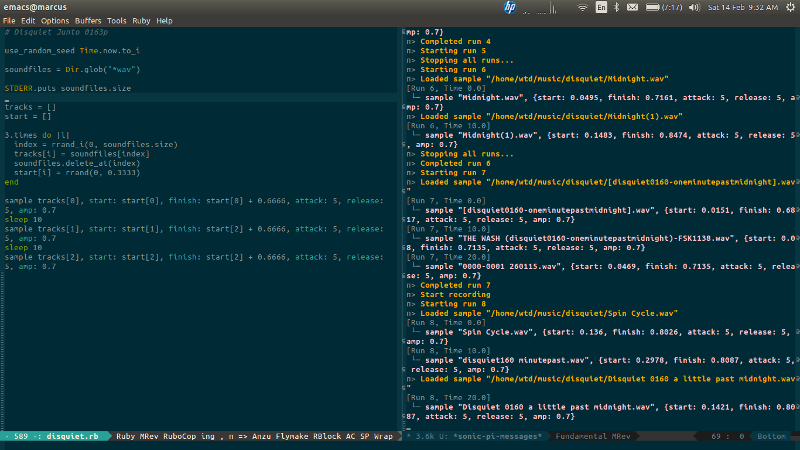 Screenshot of Emacs and Sonic Pi