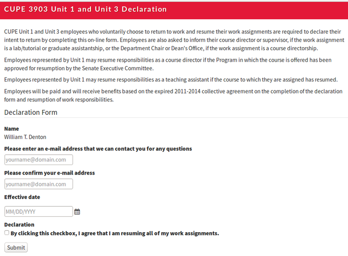 Screenshot of online form