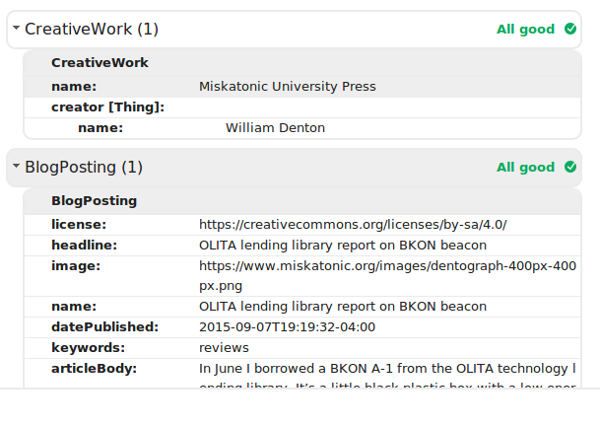 Screenshot of Structured Data Testing Tool results, showing Article and CreativeWork at same level