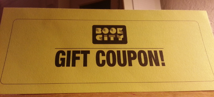 Outside of Book City coupon