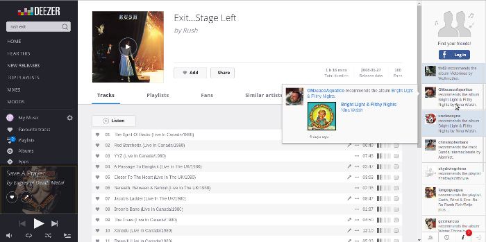 Screenshot of Deezer.