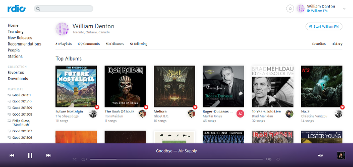 My Rdio profile just before it all went under.  I really was listening to Air Supply---the track was on a group Rdio-is-dying playlist.
