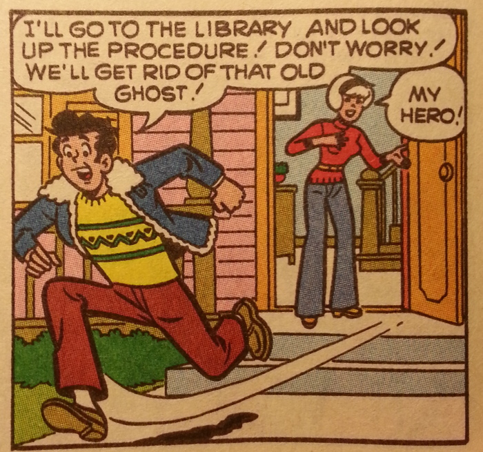 Harvey runs to the library.