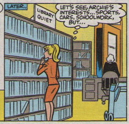 Betty looking at books