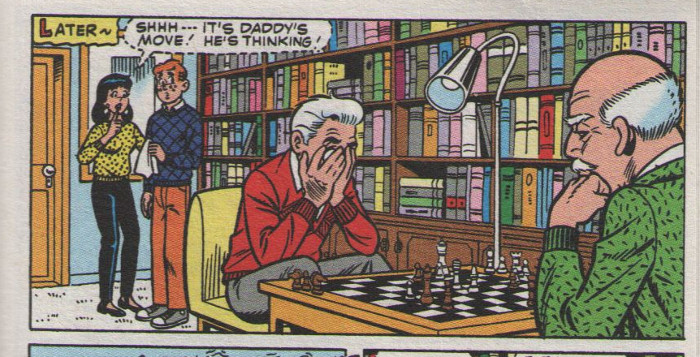 Mr. Lodge ponders a chess move