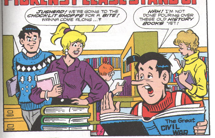 Jughead researching in the library