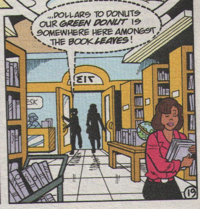 Dilton and Nancy enter the library.