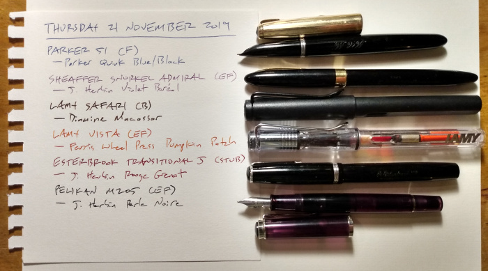 Six pens, with list of inks