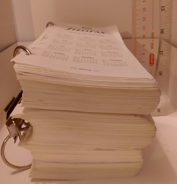 11 cm of Filofax pages