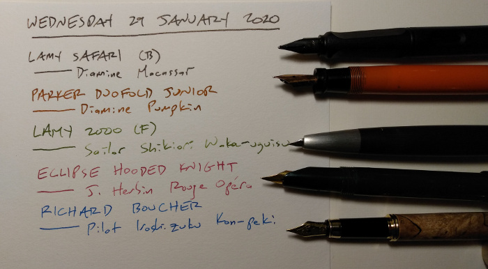 Five pens, with a list of inks