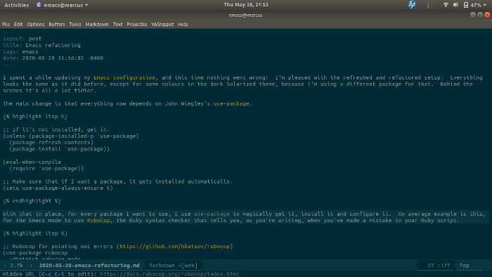 Screenshot of Emacs while I'm editing this post