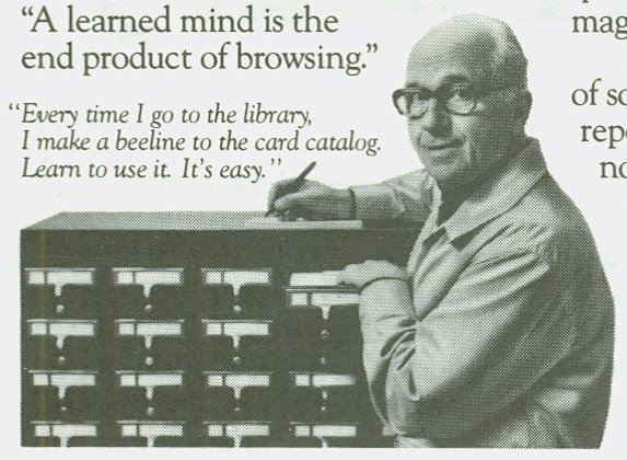 Picture of James Michener standing by a card catalogue