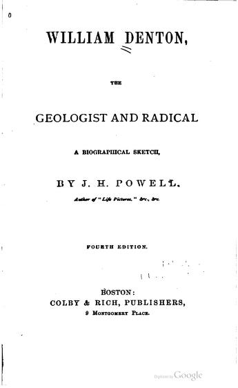 William Denton, Radical and Geologist